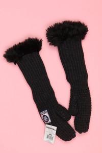 Superdry. - strick-fake fur-handschuhe -