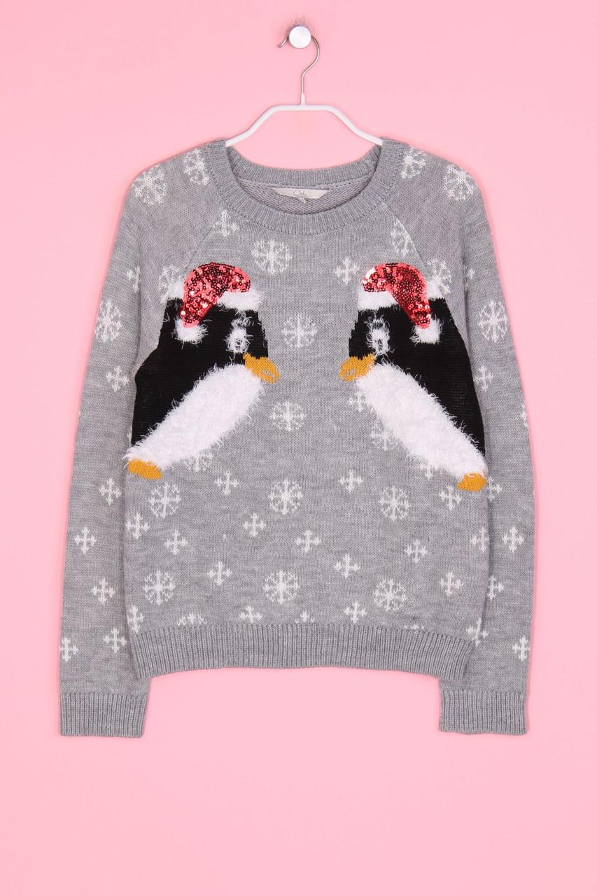 clockhouse c&a winter-strick-pullover m grau pinguine