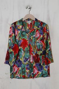 Coldwater Creek - hemd-bluse mit 3/4-ärmel mit floralem muster - M