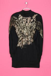 MICHEL ADAM - vintage-,sweat- kleid mit strass-steinen - XL