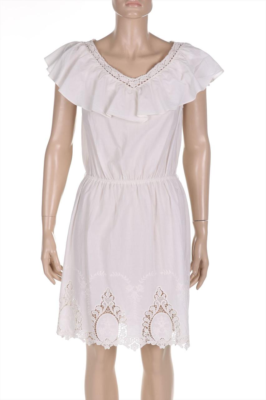 details zu liu jo jeans boho-kleid mit stickereien d 38 elfenbein damen  dress robe