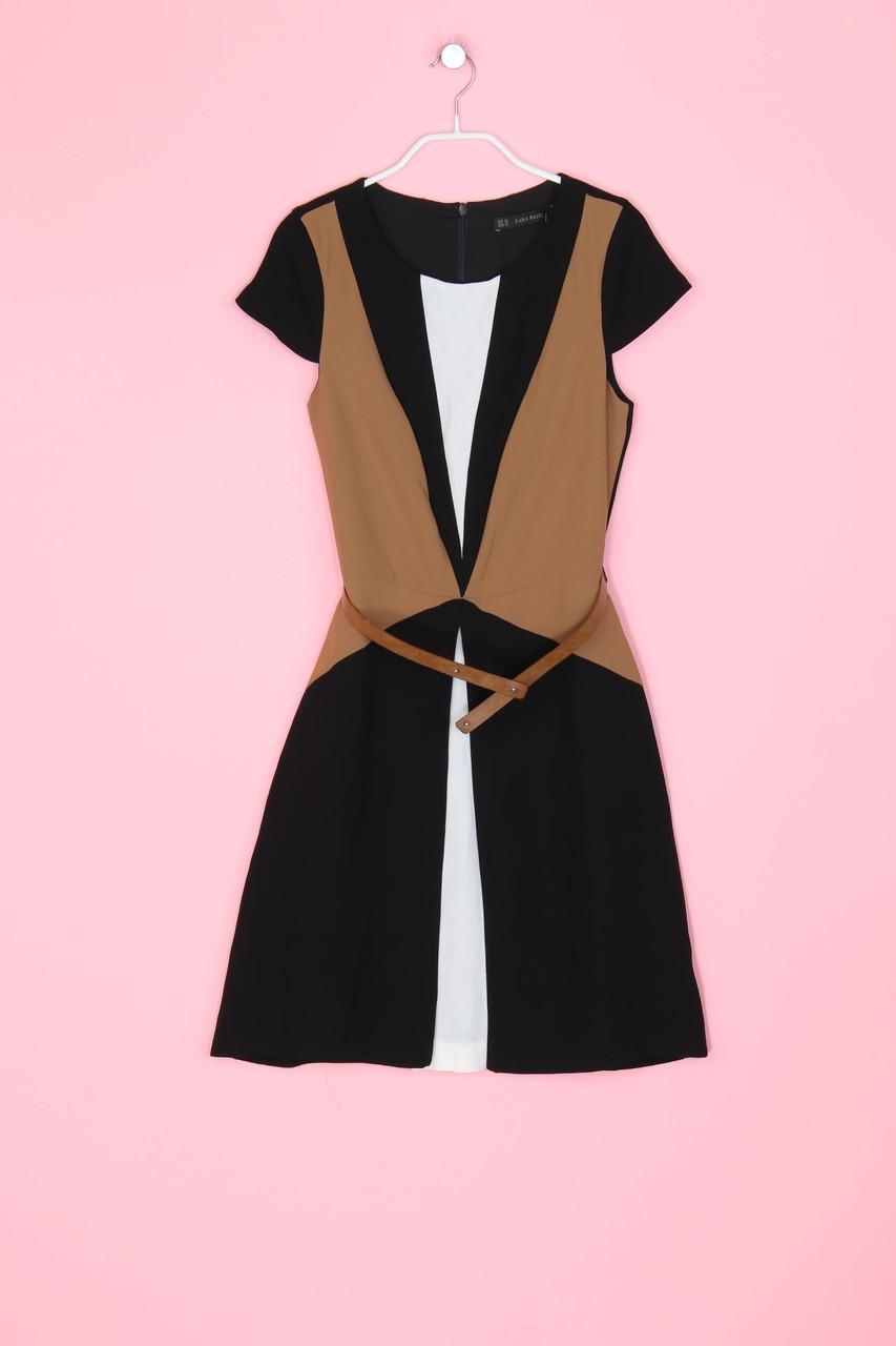 ZARA Kleid mit Gürtel XS schwarz Damen Dress Robe | eBay