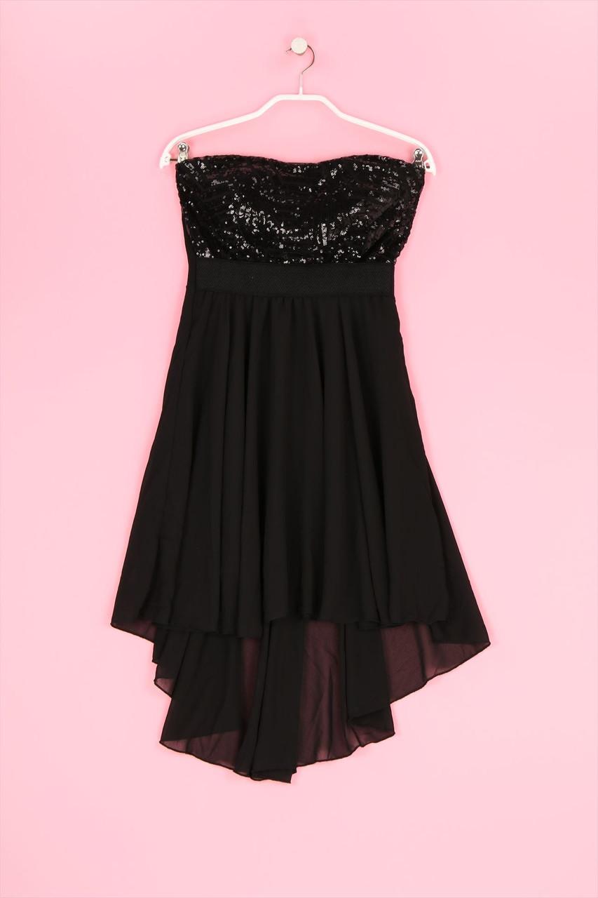 details zu colloseum vokuhila-bandeau-20s-kleid mit pailletten s schwarz  20er jahre vintage