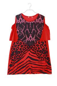 Ohne Label - kurzarm-shirt mit animal-print - D 48