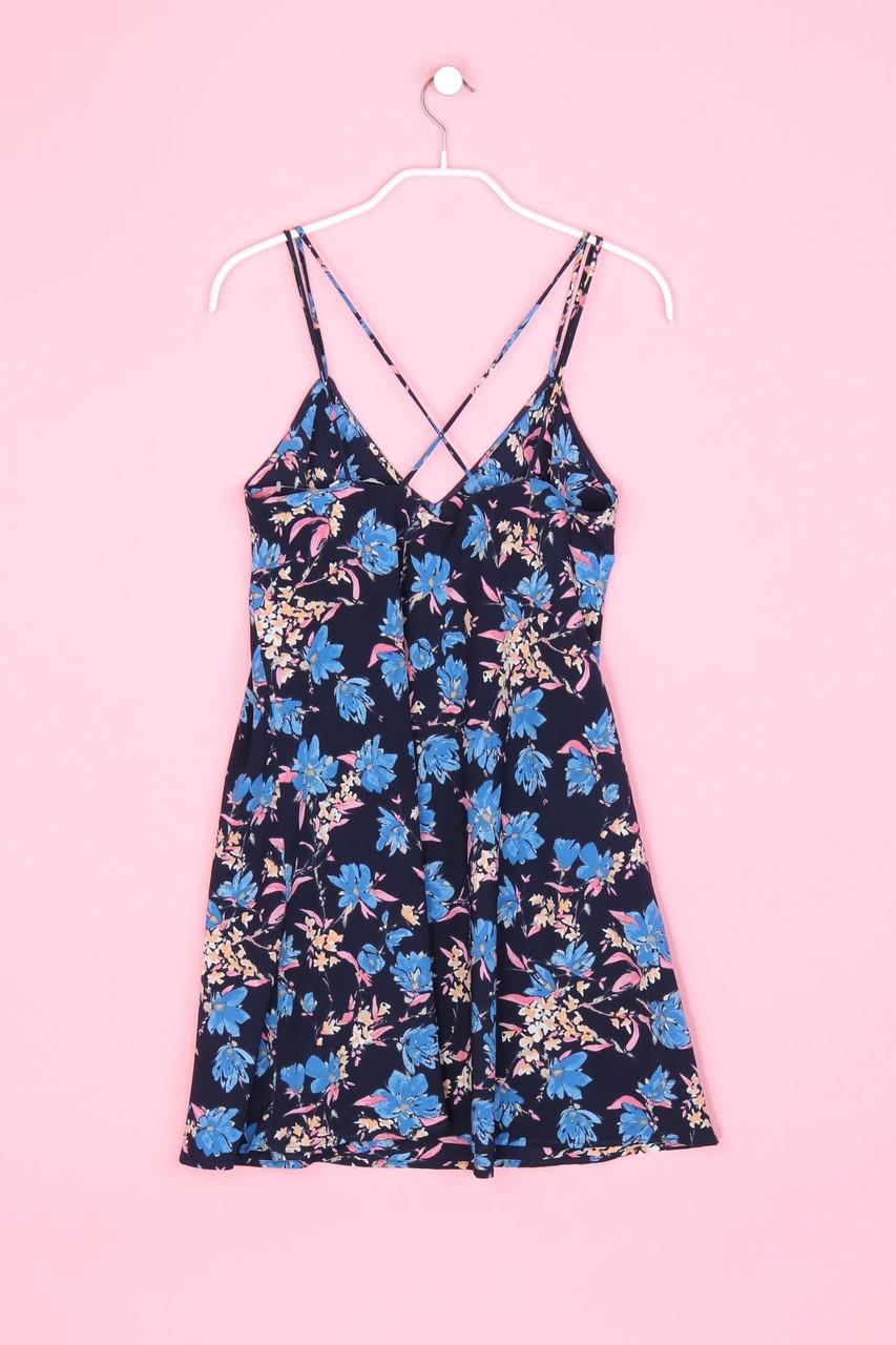 ZARA TRF Kleid Mini Strand Blumen Print S nachtblau | eBay