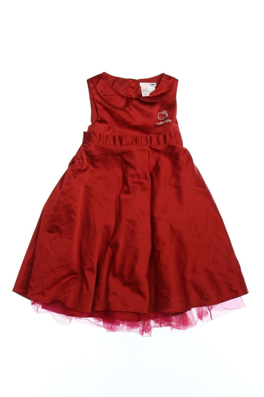 h&m satin-kleid mit tüll 122 rot hello kitty mädchenkleid