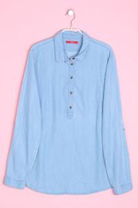 s.oliver - tunika-bluse in denim-optik mit krempel-ärmeln - D 42