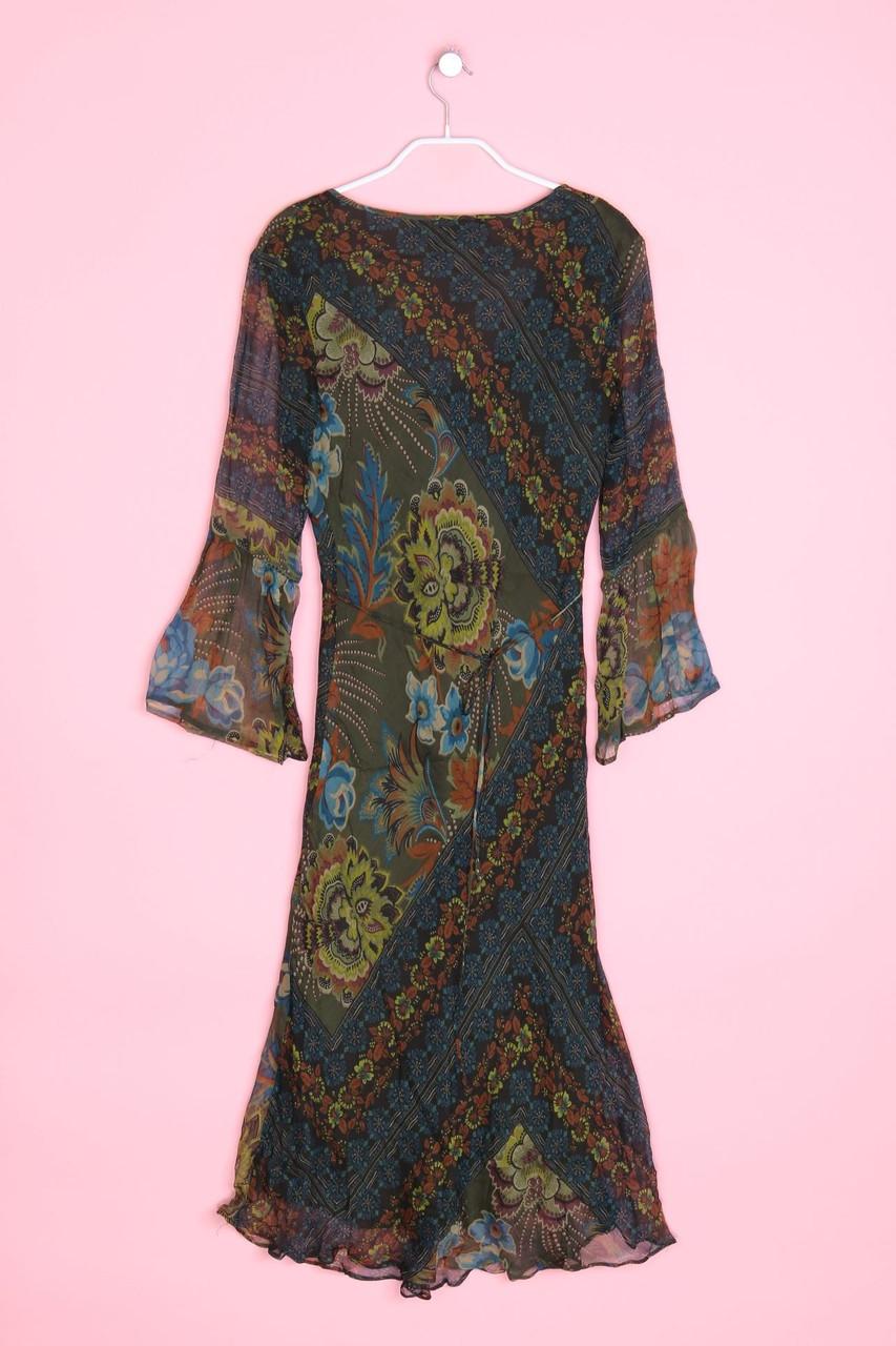 ZARA WOMAN Boho-Seiden-Kleid mit em Muster mit Raffungen S ...