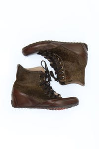 CANDICE COOPER - high-top sneakers mit pelz-besatz -