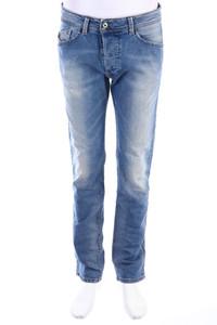 DIESEL - used look slim-jeans mit logo-badge - W32