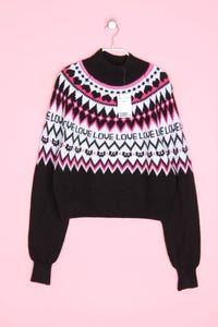H&M DIVIDED - cropped-norweger-strick-pullover - S