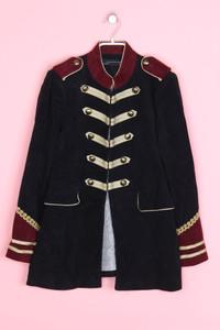ZARA WOMAN - military-samt-mantel aus baumwolle  mit applikationen - M