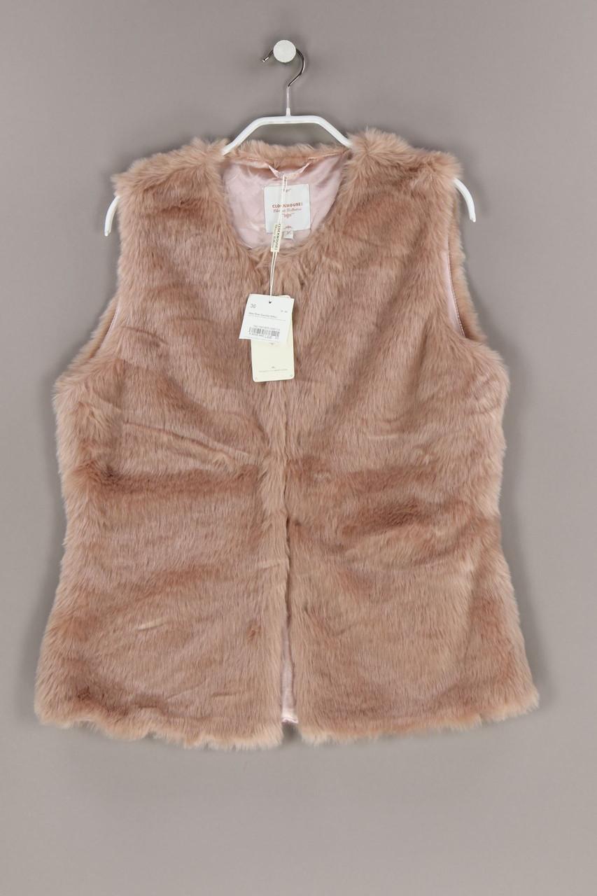 details zu clockhousec&a fake fur-weste d 36 nude rosé damenweste