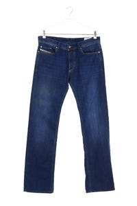 Diesel Industry - used look straight cut jeans mit logo-patch - W32