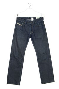 Diesel Industry - dark denim straight cut jeans mit logo-patch - W31