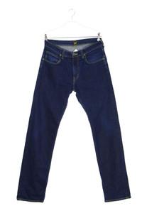 Lee - dark denim straight cut jeans mit logo-patch - W31