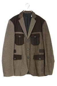 Desigual - patchwork-jacke aus woll-mix mit aufgesetzten taschen - 54