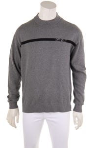 Calvin Klein Jeans - baumwoll-strick-pullover mit logo-prägung - S