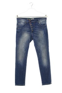 Please - used look skinny-jeans mit logo-patch - M