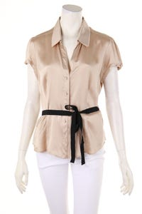 GERARD DAREL - kurzarm-bluse aus seide mit gürtel - D 44