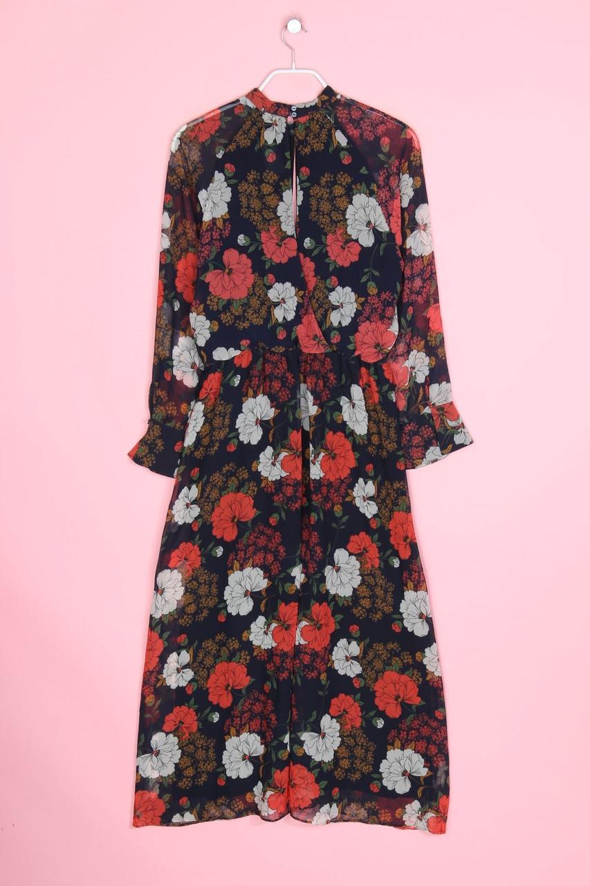 ZARA WOMAN Maxi-Kleid mit floralem Muster XS Blau | eBay