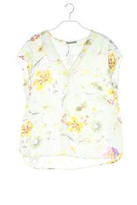 NILE collection - satin-kurzarm-bluse mit blumen-print - S