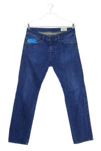 DIESEL - used look straight cut jeans mit logo-patch - W32