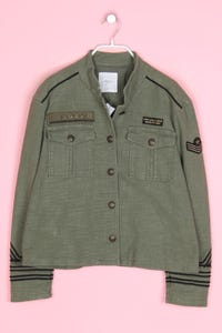 MANGO CASUAL - military-jacke mit paspelierung - L