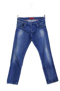 HUGO HUGO BOSS - used look straight cut jeans mit logo-badge - W34