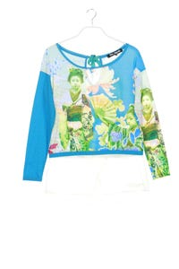 Desigual - longsleeve-shirt im layer look mit logo-stickerei - M