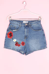 Lost Ink - jeans-shorts aus baumwoll-mix mit stickereien - D 36