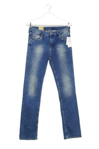 H&M &denim - used look straight cut jeans mit logo-badge - W33