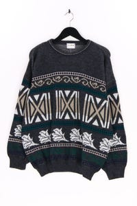 Henry Morell - rundhals-pullover mit intarsia knit-muster - XL