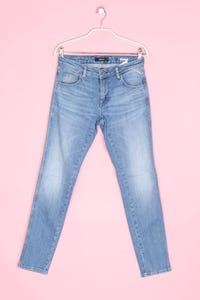 REPLAY - used look skinny-jeans mit logo-patch - W25