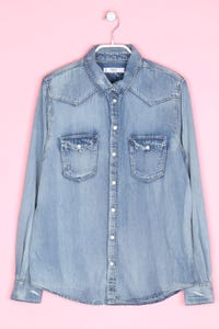 MANGO - jeans-bluse im used look - S
