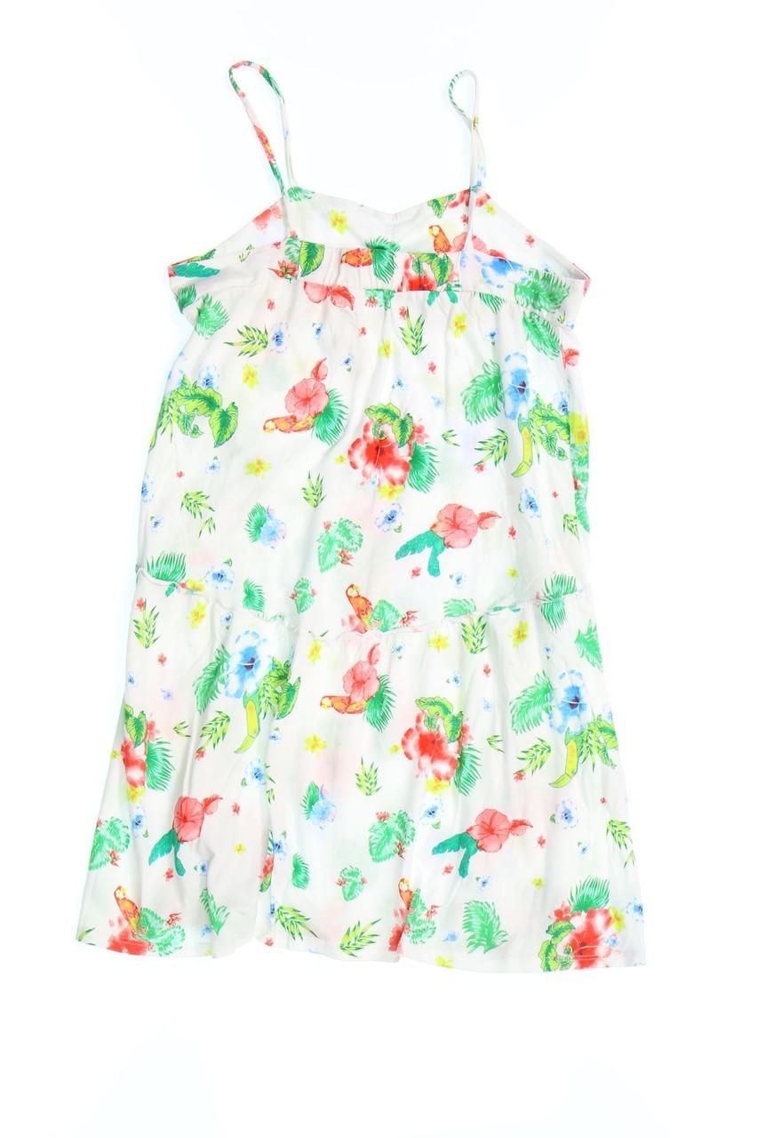 ZARA KIDS Kleid Träger Blumen Print 164 off-white | eBay