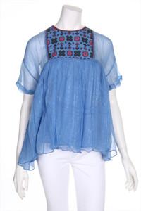 MANOUSH - kurzarm-bluse im boho-stil mit stickereien - D 36