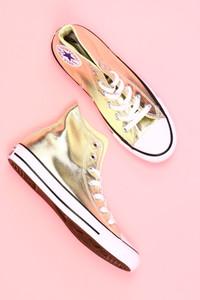 CONVERSE - metallic-high-top sneakers -