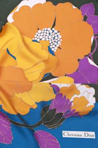Christian Dior - Vintage-Seidentuch mit Blumen-Print