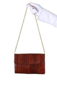 Vintage-Schlangen-Leder-Umhänge-Tasche mit Kette - ONE SIZE