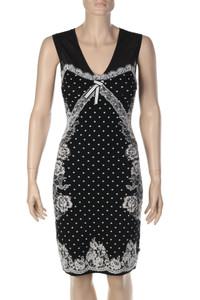 MARC CAIN - Strick-Kleid aus Jacquard mit Spitze - S