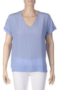 MARC CAIN - Seiden-Shirt mit Krempel-Ärmeln - S
