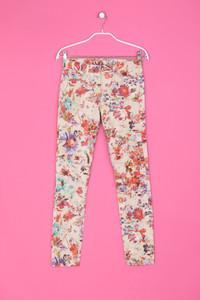 Skinny-Hose mit Blumen-Print - XS