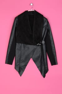 Faux Leather-Jacke mit Schalkragen - S