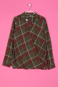 RAINBOW - Karo-Baumwoll-Bluse mit Drapierung - S
