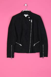 H&M - Faux Leather-Jacke mit Patches - L