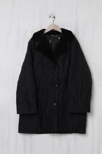 Crinkle-Mantel mit Faux Fur-Kragen - XXXL