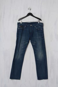 AX ARMANI EXCHANGE - Used Look-Jeans mit Logo-Patch - XL
