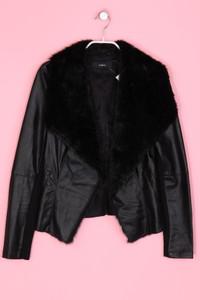 zebra - Faux Leather-Jacke mit Faux Fur-Kragen - XS