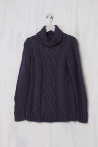 SISLEY - Strick-Pullover mit Zopf-Muster - S
